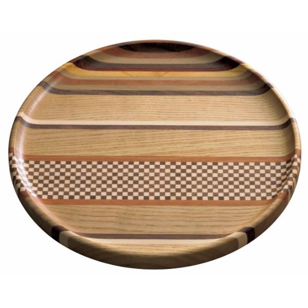 箱根寄木細工 無垢8寸仁取盆(縞)