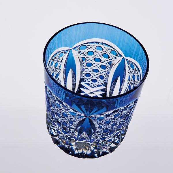 江戸切子ロックグラス(瑠璃色)