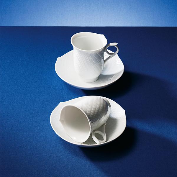 マイセン 波の戯れ ホワイト ペアコーヒーカップ&ソーサー
