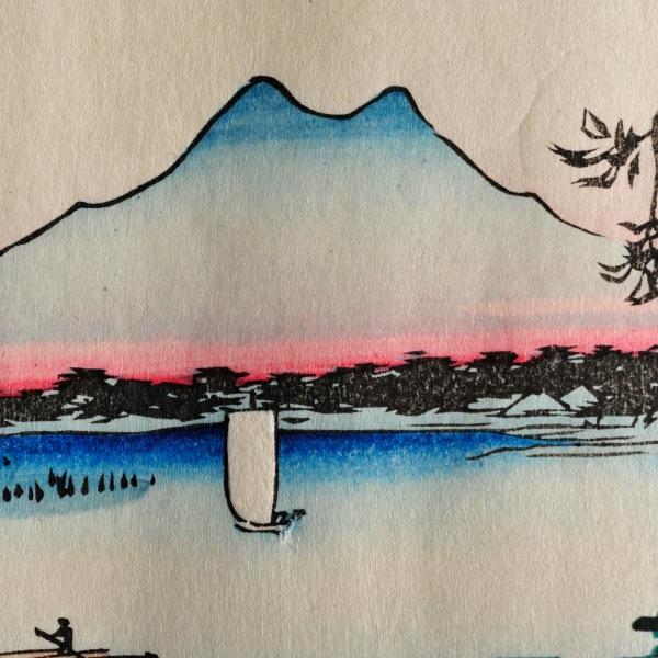 江戸木版画 歌川広重 名所江戸百景「隅田川水神の森真崎」
